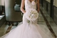 16 lace straps sweetheart neckline mermaid wedding dress with a large tulle tail