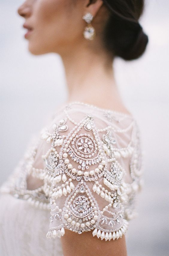 lovely rhinestone and pearl embroidered sleeves look glam and chic