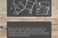 17 a customized wedding map with directions on the back side