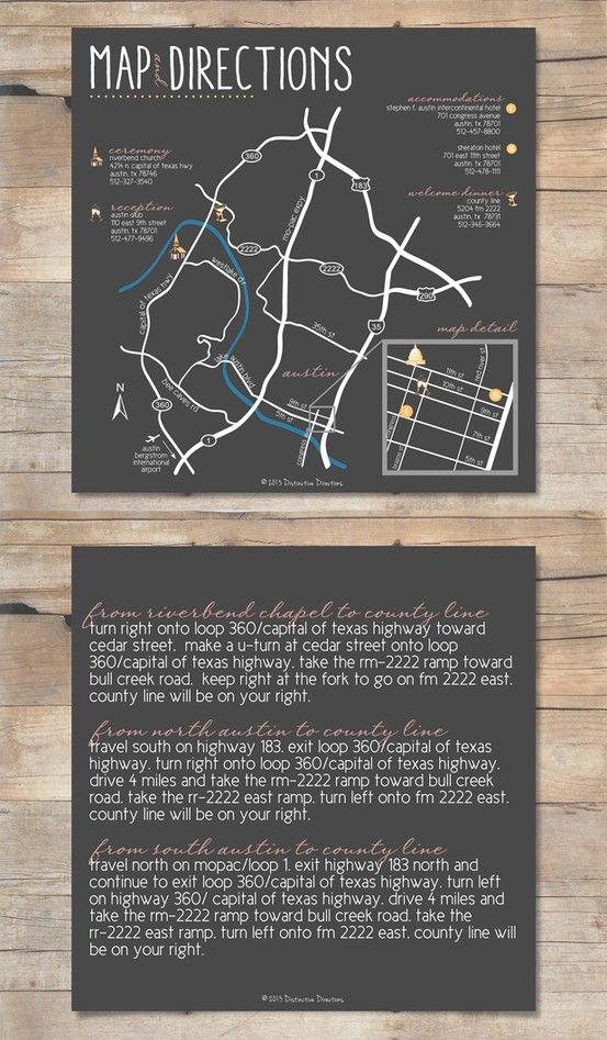 a customized wedding map with directions on the back side