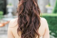 17 a twisted and wavy half updo will fit many bridal looks, from boho to rustic