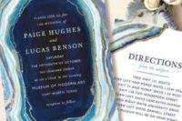 19 a chic geode slice direction card with gold leaf that matches the geode print invitation