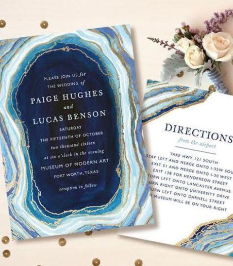 a chic geode slice direction card with gold leaf that matches the geode print invitation