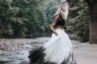 19 a trendy bridal separate with a sheer black lace crop top and an ombre full skirt from white to black