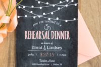 20 a chalkboard style reahearsal dinner invitation with white and pink letters