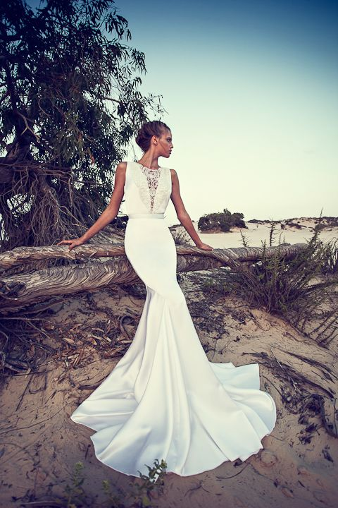 a plain modern mermaid wedding dress with an illusion plunging neckline covered with lace, no sleeves