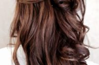 20 a twisted half updo with curls is a chic idea for a casual and cute look