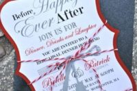21 a cute whimsy-shaped rehearsal dinner invitation with colorful twine