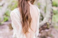 21 a twisted messy half updo with bangs looks great on long hair