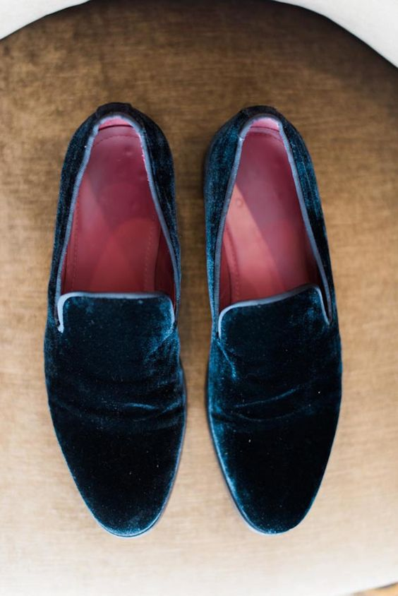 navy velvet shoes for a refined groom's look
