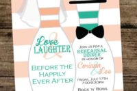 22 fun rehearsal dinner invitations in the wedding colors hinting on the location