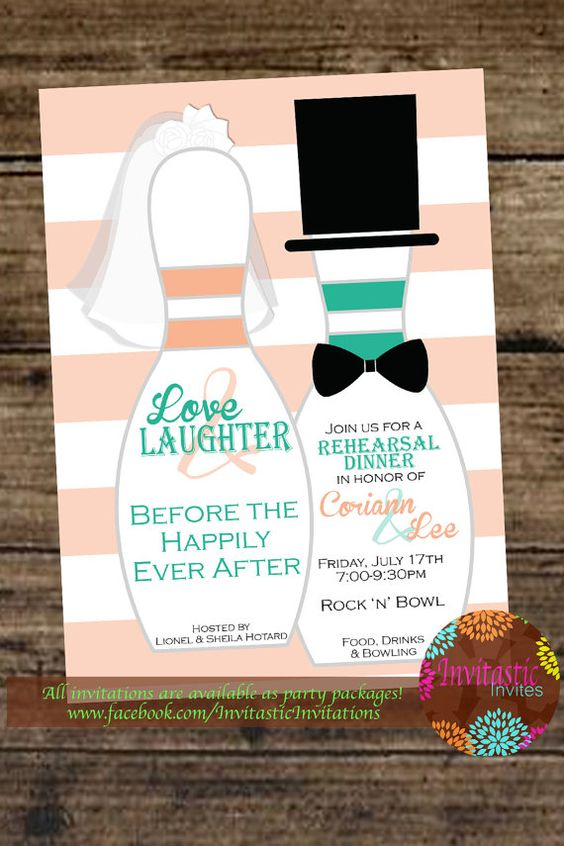 fun rehearsal dinner invitations in the wedding colors hinting on the location