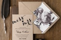 23 a kraft paper and calligraphy bridal shower invitation with a matching envelope with dark floral lining