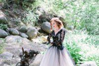 stylish long sleeve wedding gown