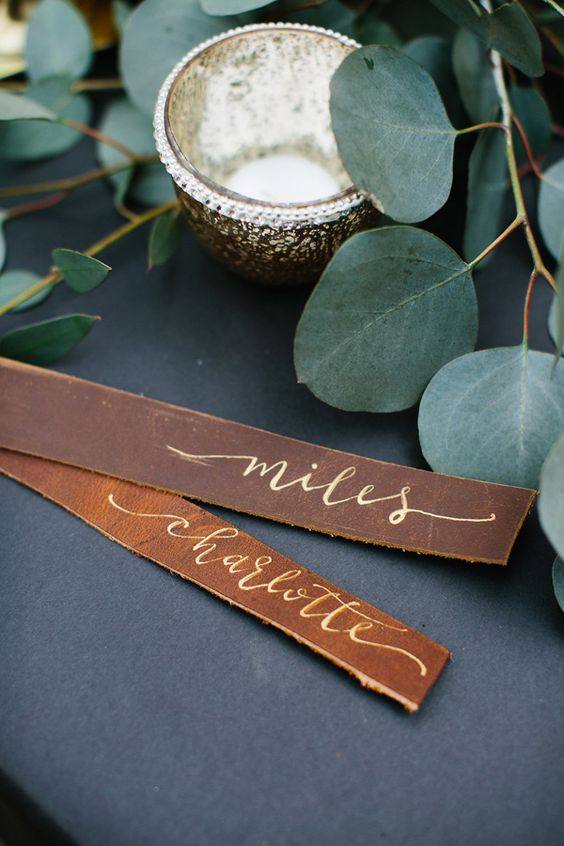 leather and calligraphy place cards look cute and can be easily DIYed