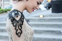 24 black detailing can be presented with black embellishments on the shoulders and front of your dress
