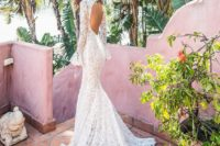 25 long sleeve cutout back mermaid lace applique wedding dress with a train looks chic