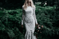 26 modest yet sexy lace mermaid wedding dress with long sleeves and a high neckline