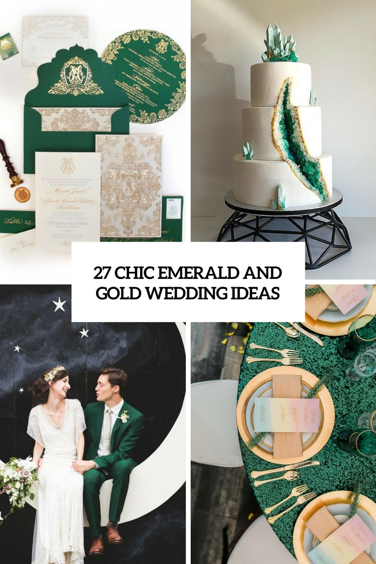 chic emerald and gold wedding ideas cover