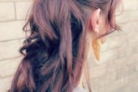 27 twisted half updo with waves and bangs and volume on top looks trendy and fashionable