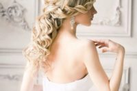28 a romantic twisted and curly half updo for a formal or glam bridal look