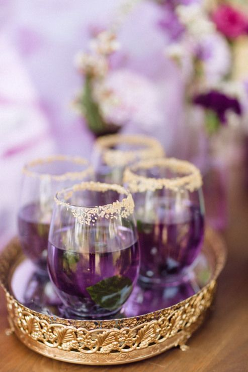 violet wedding cocktails with mint and with a glitter hem