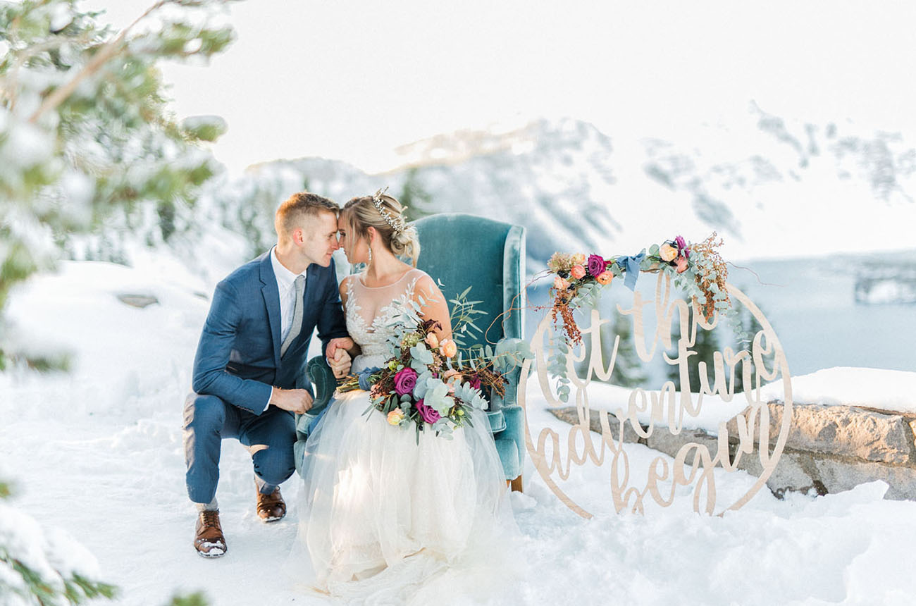 This snowy wedding shoot is a source of inspiration for those who love Frozen and ice queens