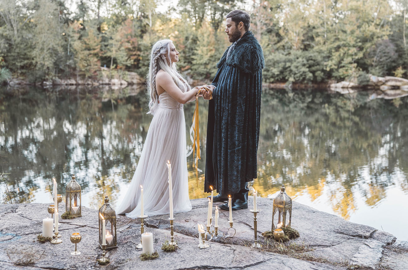 This wedding shoot is inspired by Game of Thrones and shows a wedding ceremony of Danny and Jon