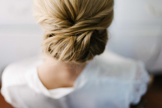 The bride opted for an elegant twisted updo