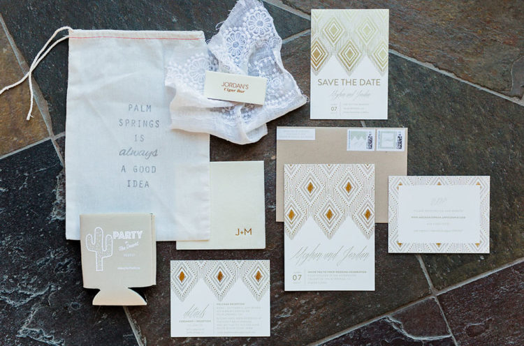 The wedding invitation suite was done in neutrals with a diamond print