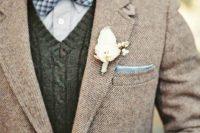 tweed jacket for a rustic groom's look