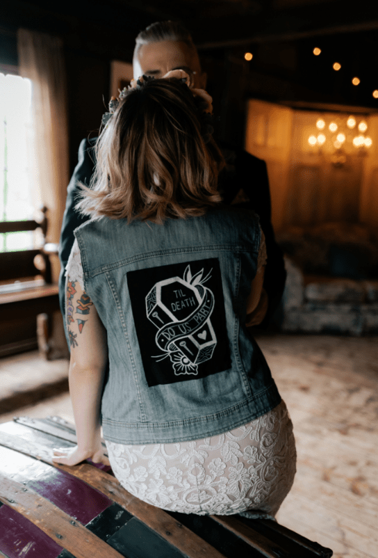 She added a stylish customized denim vest