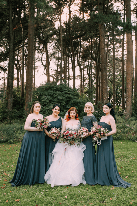 The bridesmaids were wearing graphite grey mismatched gowns