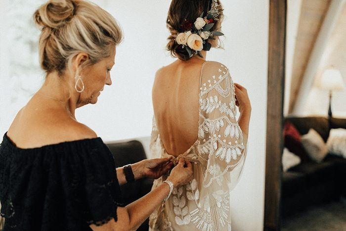 The open back was a bold and chic detail for a sexier look