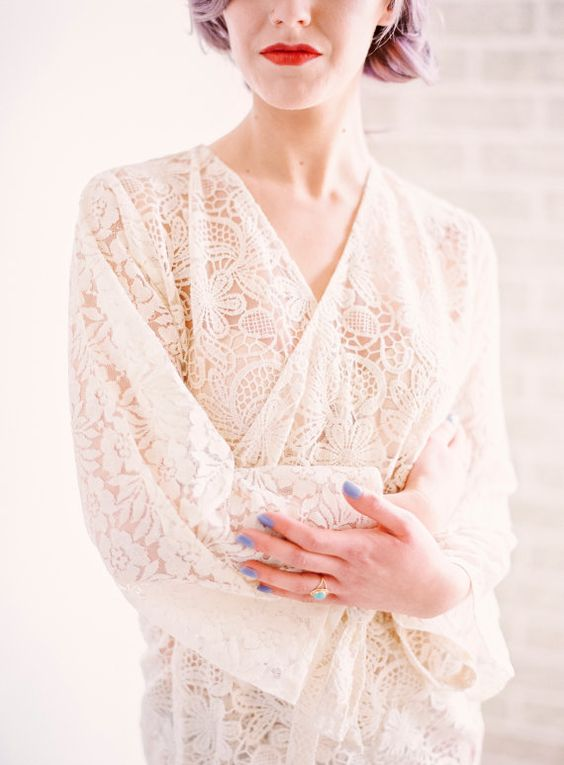a chic short off-white lace bridal robe with long sleeves plus your wedding lingerie under it