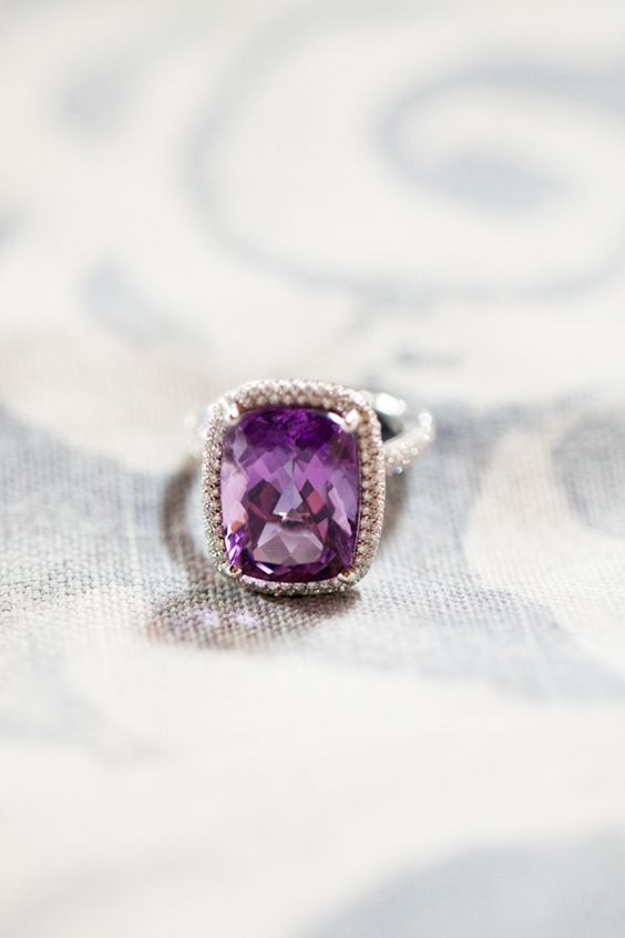a rectangular amethyst halo engagement ring look super refined and chic