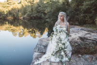 04 The bride was holding a cascading lush white orchid bouquet