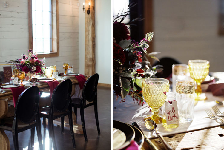 The wedding tablescape was done in plum, burgundy and gold shades, and I love amazing modern chairs