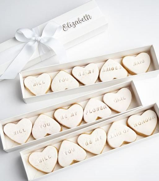 a cookie proposal box is a great idea, and your can bake them yourself if you like it