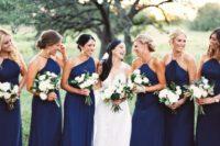 04 halter neckline and one shoulder navy bridesmaids' dresses are very elegant