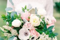 04 textural wedding bouquet with pink and white roses, white anemones, greenery and some little blooms