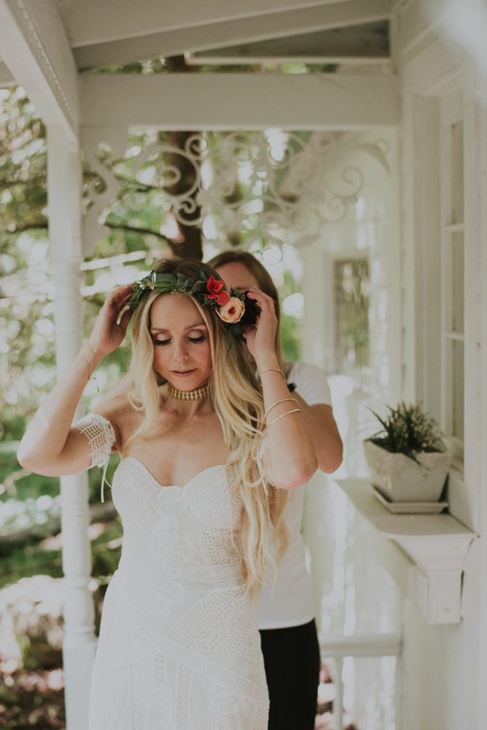 A colorful floral bridal crown was accessorized with some opals that the bride's mom had given to her