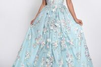 05 a blue plunging neckline wedding dress with pink floral appliques and no sleeves is ideal for a spring wedding