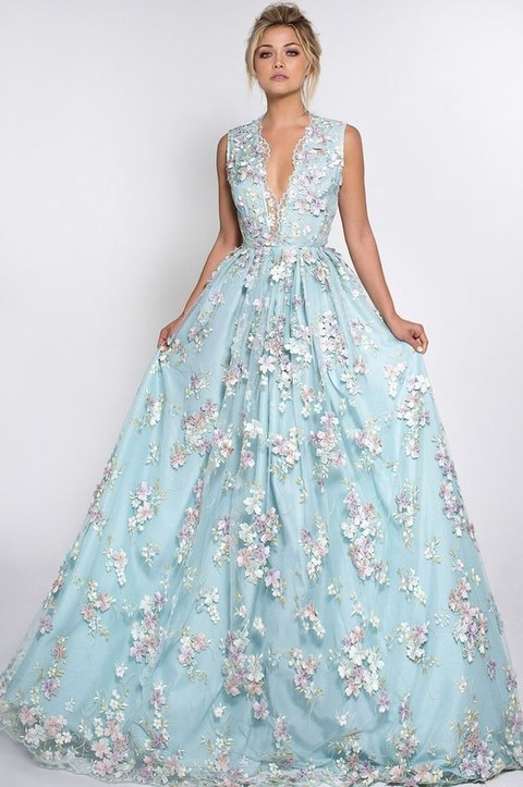 a blue plunging neckline wedding dress with pink floral appliques and no sleeves is ideal for a spring wedding