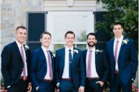 05 a chic combo of navy suits and pink ties is a cool modern idea