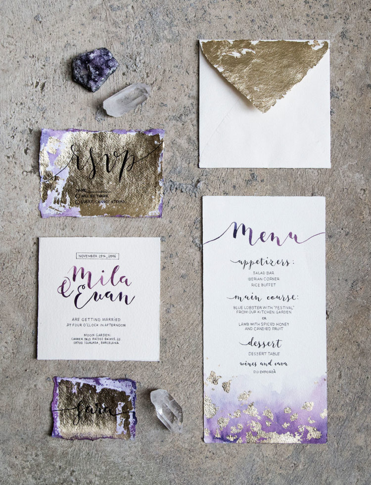 amethyst and gold leaf wedding invitation suite with calligraphy