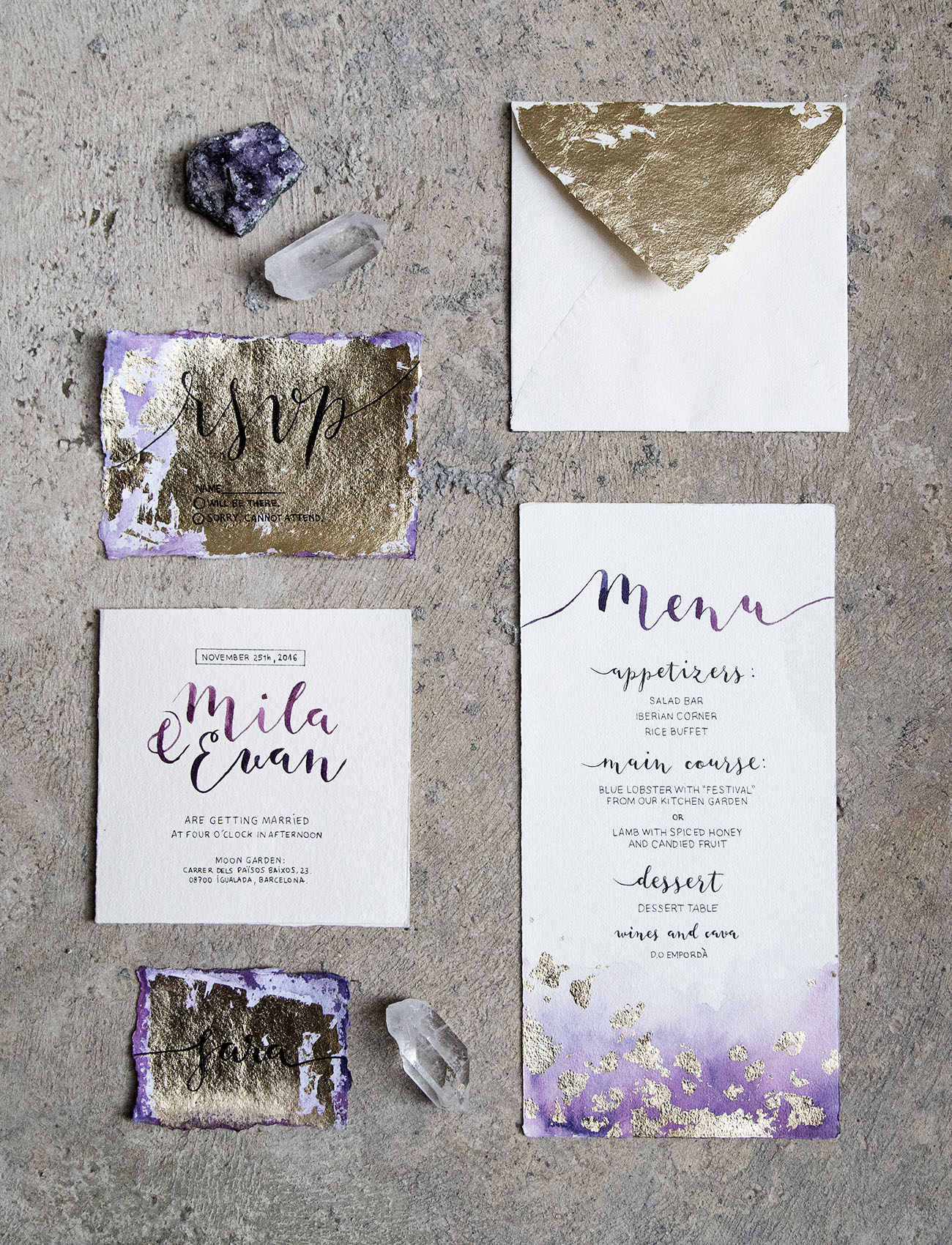 Picture Of Amethyst And Gold Leaf Wedding Invitation Suite With Calligraphy