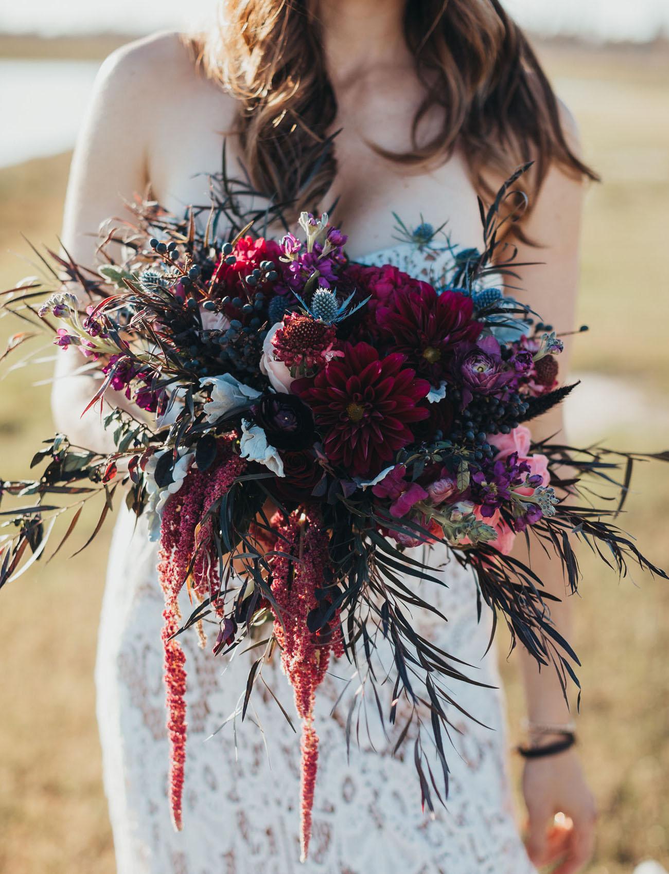 creative and wild wedding bouquet