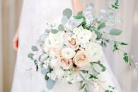 06 a classic white and blush rose bouquet with eucalyptus will fit many color schemes and bridal looks