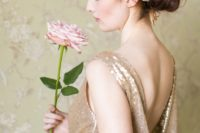 06 a single pink rose with a long stem is great for a glam bride who wants to look chic